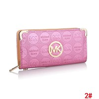 MK Fashionable Women Leather Zipper Purse Wallet Pink