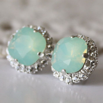 Opal Mint Swarovski Crystal Cushion Cut Faux Diamond Encrusted Square Stud Earrings Pacific Opal