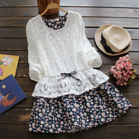Spring Autumn Women Dress 2017 Japanese Style Sweet Floral Print Lace Patchwork Long Sleeve Dress Cute Mori Girl Dress