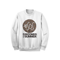 5SOS 5 Seconds Of Summer Sweatshirt Flower Logo Crewneck Sweater for Men Women (Unisex) - Color White