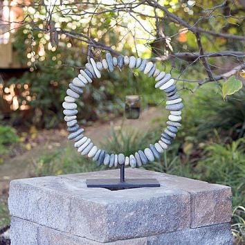 River Rock Free Standing Stone Ring Sculpture   20-in