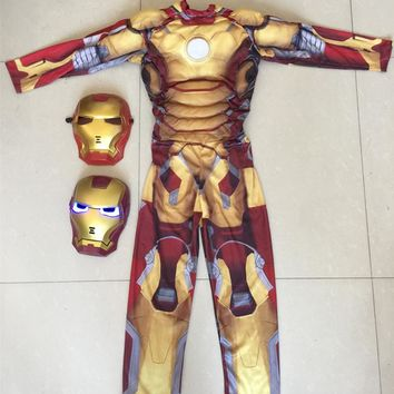 Muscle  Iron Man Cosplay Costume Child Kids Children's Day Halloween Costume  Avengers LED Masks