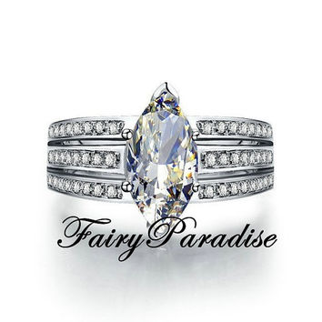 Unique 3 Ct Marquise Cut Lab Diamond Engagement Promise Cocktail Ring, 3 channel set band, with gift box- made to order (FairyParadise)