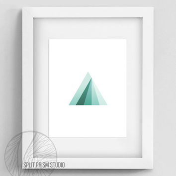 Original Art Print, Instant Download, Print, Art, Digital File, Wall Art, Geometric, Graphic Print, Triangle, Blue Triangle Print, Prism