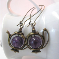Tea pot earrings antiqued bronze brass amethyst teapot earrings gemstone earrings purple teapots