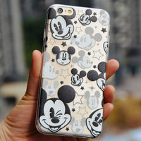 Thin Soft Clear TPU Slim Cartoon Cute Mickey Mouse Case For Apple iPhone 6 6s 6 plus 6s plus 4 4S 5 5S 5C Silicone Phone Case