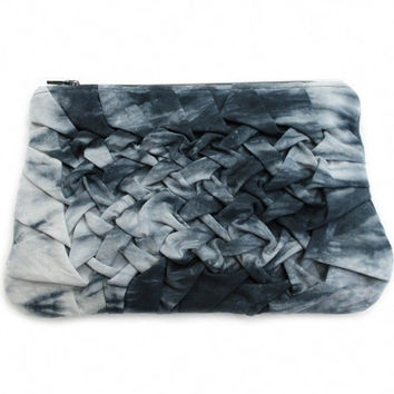 Shibori Zipper Pouch, Black White Pouch, Origami Cosmetic Bag, Hand Dyed Makeup Bag, Boho Zipper Pouch, Black Shibori Case,Large Makeup Case