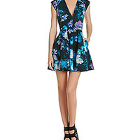 Guess Floral-Print Fit-and-Flare Dress - Black/Grey