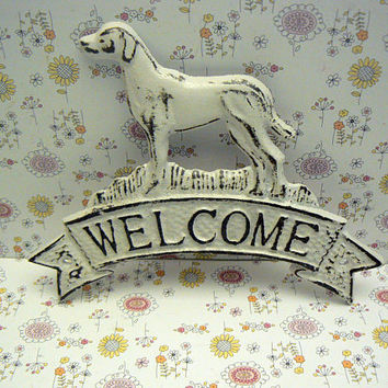 Dog Welcome Door Plaque Shabby Style Chic Classic White Labrador Retriever Canine Vet Groomer Hunt Cabin Greeting Sign Pet Lover Gift Idea