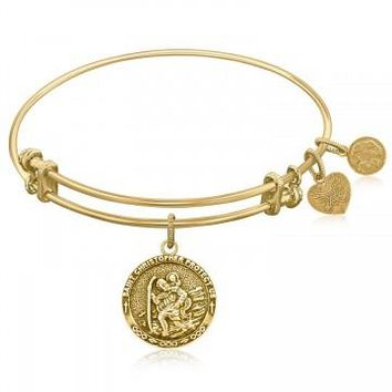 Expandable Bangle in Yellow Tone Brass with St. Christopher Protection Symbol