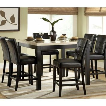 Homelegance Archstone 7 Piece Counter Height Dining Room Set w/ Black Chairs