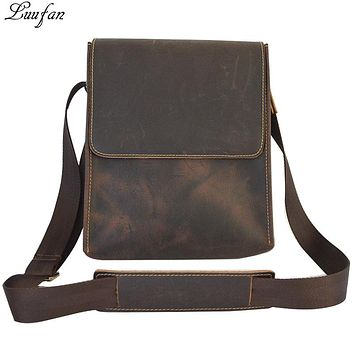 Men's Crazy horse genuine Leather shoulder bag cow leather messenger bag Vintage real leather cross body bag