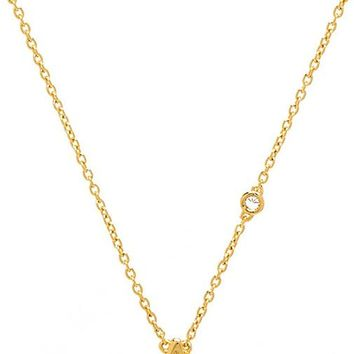 Shy by Sydney Evan A Necklace with Diamond Bezel in Metallic Gold