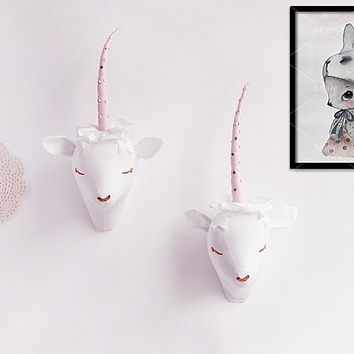2 Color Cute 3D Animals Unicorn Head Northern European Kids Room Wall Decoration Soft Artwork Toys Gifts Nordic Kids Photo Props
