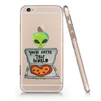 You Outta This World Pizza Alien Slim Iphone 6 Case, Clear Iphone 6 Hard Cover Case (For Apple Iphone 6 4.7 Inch Screen)-Emerishop