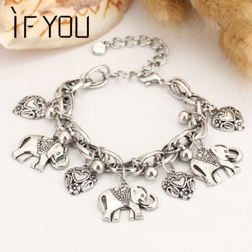 IF YOU Trendy Silver Color Charm Bracelet Bohemian Statement Women Bracelet With Elephant Pulseira Vintage Jewelry For Women