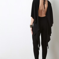 Open Back Draping Cape Jumpsuit