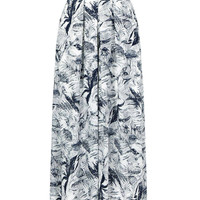 Blue Leaf Print Wide Leg Culottes