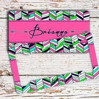 Monogram car license plate or frame, Personalized auto tag, Chevron car accessories, Cute bicycle license plate Pink navy green aztec (1427)