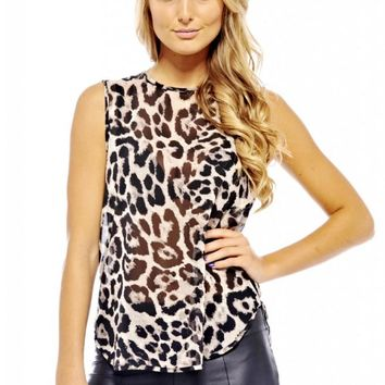Animal Print Chiffon Sleeveless Top with High Neckline