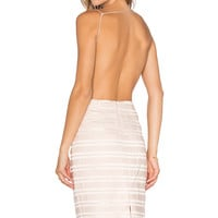Endless Rose Open Back Dress in Champagne Gold