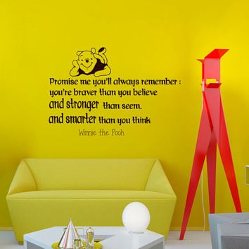Wall Decals Quote Decal Promise me you'll always remember  Winnie The Pooh Sayings Sticker Vinyl Decals Wall Decor Murals Z337