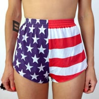 Vintage American Flag Running Shorts 80's High Waisted Jogging Shorts
