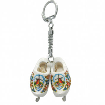 Wooden Shoe Keychain Clogs with Skates