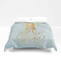 OCTOPUS PASTEL WATERCOLOR Duvet Cover by Digital Effects
