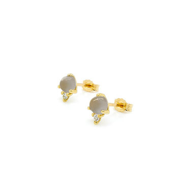 Grey Moonstone & Diamond Modern Minimalist Stud Earrings 14k Yellow Gold