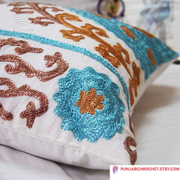 Cotton Handmade Embroidered Pillow cover Uzbek Suzani Cushion Cover Bright Colored Home Decor Living Room Decoration Sofa Cushion Cover 16 ""