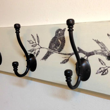 Wall coat rack with vintage bird graphic, shabby style coat rack