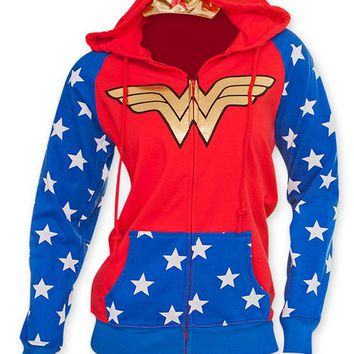DC Comics Wonder Woman Foil Logo Crown Juniors Hoodie S