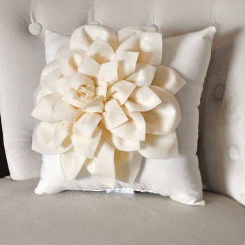 Ivory Dahlia Felt Flower on Ivory Pillow NEW DESIGN by bedbuggs