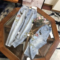 """""""Gucci"""" Women Casual Fashion Temperament Flower Embroidery Worn Ripped Jeans Trousers"""