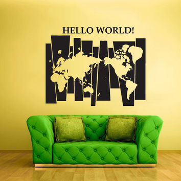 Wall Vinyl Sticker Decals Decor World Map Time Hello World Words Decal (z1470)