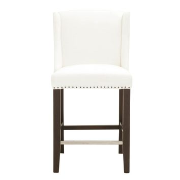 Ryden Counter Stool Pure White Fabric, Espresso | 100% Polyester, Birch Solids, Large Black Nail Tacks