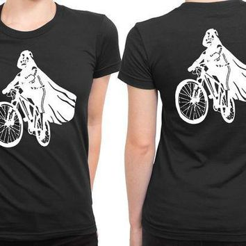 ESBH9S Darth Vader Is Riding It 2 Sided Womens T Shirt