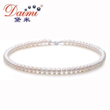 DAIMI 6-7MM Natural Freshwater Pearl Necklace Single Necklace For Women Choker Necklace