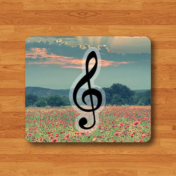 Treble Clef Vintage Floral Mouse Pad G Clef Lovely Music Natural MousePad Office Desk Deco Personalized Teacher Gift Soft Fabric Rubber Pad