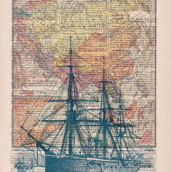 Old ship map  Print on Vintage Encyclopedic Dictionary Book page-  Home decor wall art