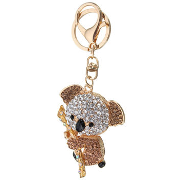 Cute Crystal Koala Bear Gold Plated Keychains