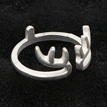 Silver Open Deer Ring