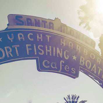 Santa Monica Pier Entrance Sign Beach Photography California Los Angeles bokeh Summer Palm Trees Sunshine