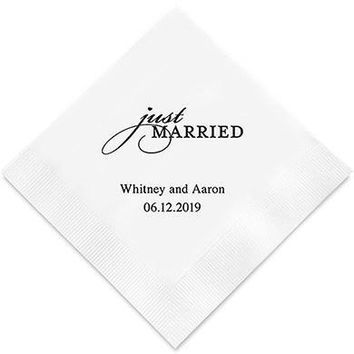 Just Married Printed Paper Napkins (Sets of 80-100)