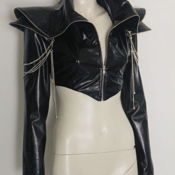 Lady Gaga Cropped Jacket Chains Vegan Leather Zippers CHRISST