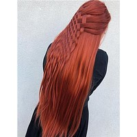 Long Reddish Brown Autumn Twilight Copper Straight Synthetic Lace Front Wig