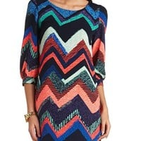Printed Chevron Shift Dress