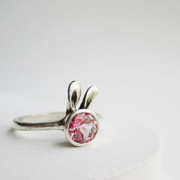 Pink Bunny Ring, Pink Topaz Sterling Silver Ring, MADE TO ORDER