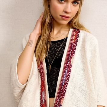 Vintage Cream Woven Poncho Jacket - Urban Outfitters